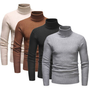 delicate colors 50% off pretty cheap Details about Fashion Mens Roll Neck Long Sleeve Cotton Top High Neck  Turtle Neck Sweater Tops