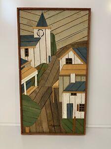 Lathe-Art-Church-Village-Signed-Artist-Theodore-DeGroot-Vintage-Original-MCM