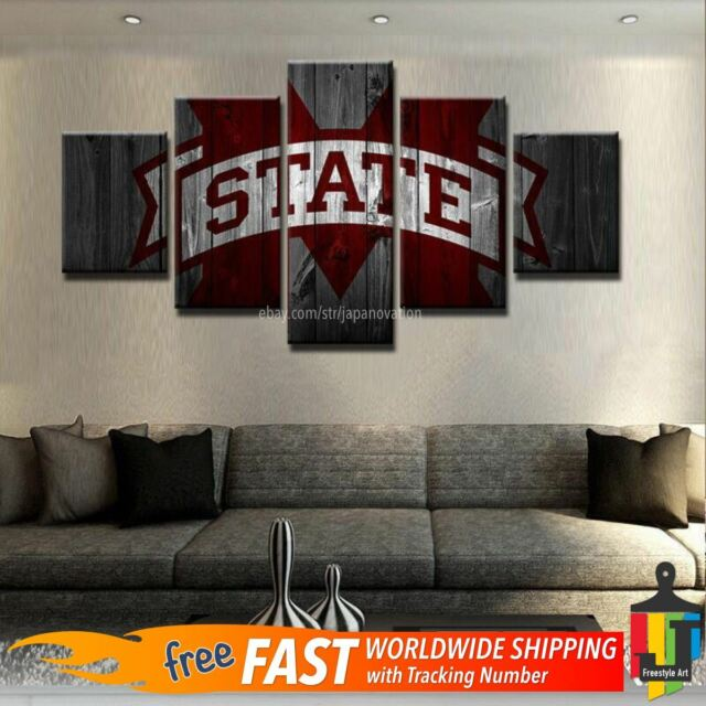 Mississippi State Bulldogs Sports 5 PCS Wall Art Print Canvas Hanging Home Decor