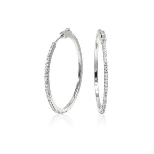 14K White Gold Over Sterling Silver Round Diamond Hoop Earrings