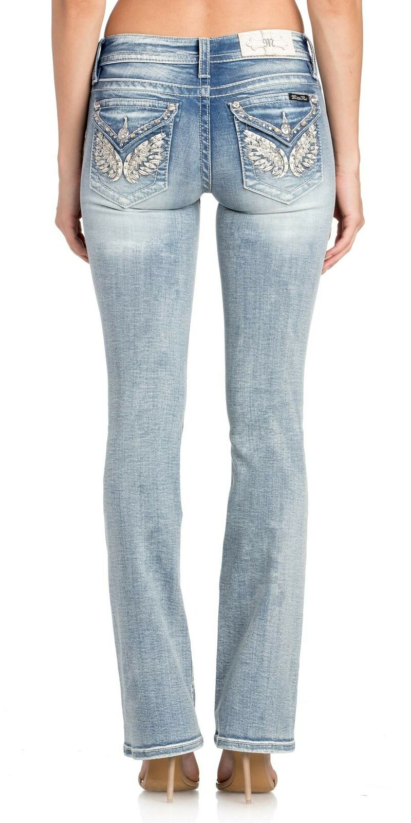 Miss Me Women's Mid-Rise Chloe Boot Cut Jeans, Light bluee 33