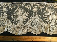 "Antique 1800's Point de Gaze Hand Made Lace Trim 1 Yard X 9"" Wide Incredible !!"