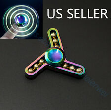 Lightning  Aluminum Alloy Tri-Spinner Fidget Toy EDC Hand Finger Spinner Rainbow