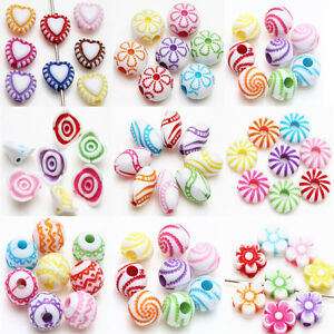 Lots-Mixed-Style-Acrylic-Loose-Charms-Loose-Spacer-Beads-Crafts-Jewelry-Making