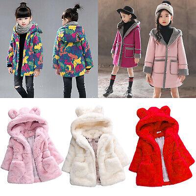 Baby Kid Boy Girl Warm Coat Fleece Jacket Tops Fur Hooded Outwear Overcoat 6M-4T
