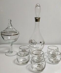 Glastonbury-Lotus-25th-ANNIVERSARY-7-Pc-DECANTER-SET-Matching-Footed-CANDY-BOX