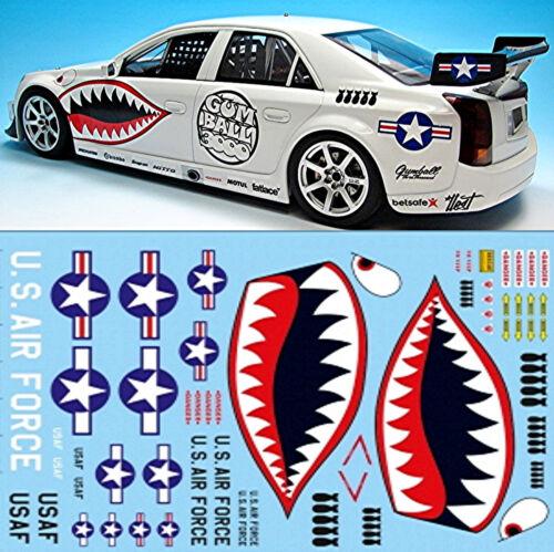 air force Gumball 3000 Rallye street racing 1:18 decal abziehbil Sharkmouth u.s