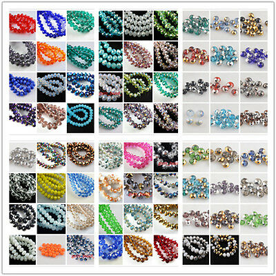 Whsle 200Pc 3x2mm Faceted Glass Loose Beads Spacer Rondelle DIY Findings 52Color