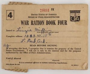 U S War Ration Book Four Opa Form R 145 Wwii 139 Stamps Sugar Coffee Spare Ebay