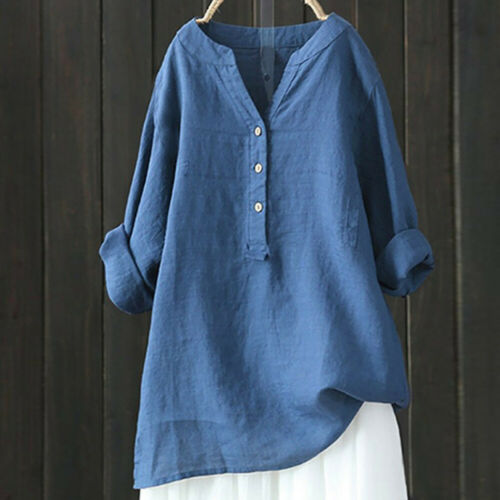 Womens Solid Long Sleeve T Shirt Casual Loose Blouse Button Tunic Tops Plus hqy