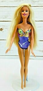 "MATTEL BARBIE Doll Long Blonde Hair Blue Eyes Swimsuit  12"" Tall Used Free Ship"