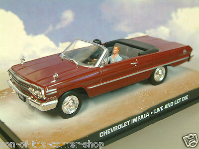 DIECAST 1//43 JAMES BOND 007 1963 CHEVROLET IMPALA OPEN MAROON LIVE AND LET DIE