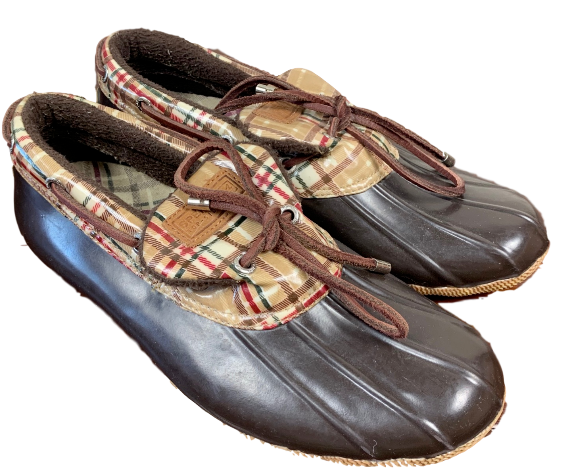 Women's Sperry Top-Siders Pre-Owned Good Condition. Size 8US Brown/Plaid B3