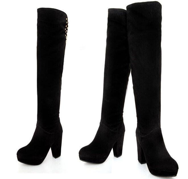 high boots winter comfortable woman heel plateau 14 cm schwarz like Leder 8927