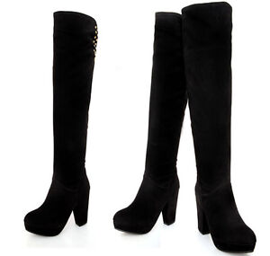 stivali alti invernali comodi donna tacco plateau 14 cm nero simil pelle 8927