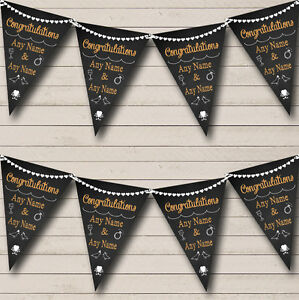 Chalkboard Congratulation<wbr/>s Black White Orange Engagement Party Bunting Banner