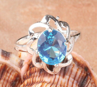 Hot S80 silver rings Sapphire CZ F272