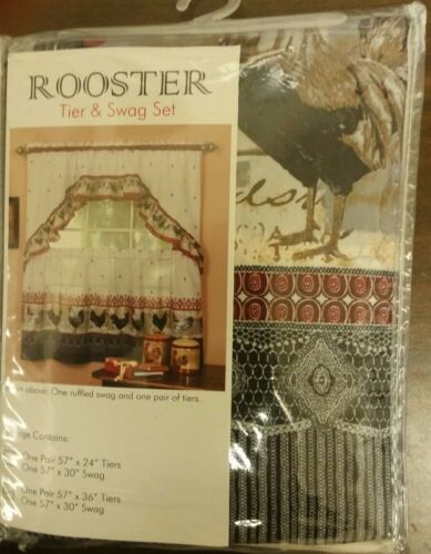 "Kitchen Curtains Tier ROOSTER by Achim 57/"" x 30/"" 57/"" x 36/"" /& Swag Set"