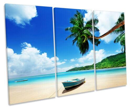 Caribbean beach boat treble toile murale art box encadrée photo