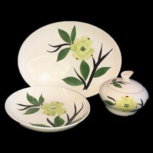3-Pieces-Dixie-Dogwood-Joni-Handpainted-Sugar-Bowl-w-Lid-Soup-Bowl-Platter
