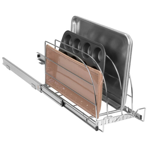 Sliding Kitchen Cabinet Pull Out Cutting Boards and pan organizer bakeware
