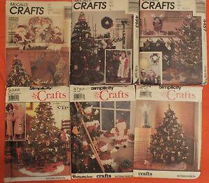VTG-90s-CHRISTMAS-PATTERNS-Crochet-Ornaments-Tree-Skirt-Santa-Dolls-Stockings