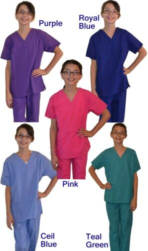 Kids Veterinarian Scrubs with Hearts Paw Prints Embroidery Pink Blue Purple