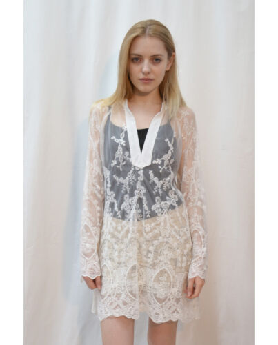 Lady Floral Crochet Lace Cotton Long sleeves Top Blouse Shirt Beach Holiday Wear