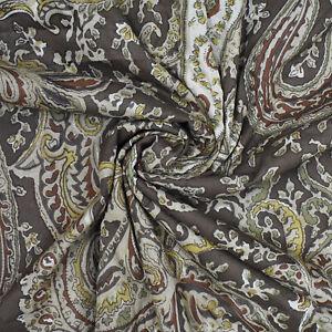 43-034-Wd-Brauner-Stoff-Paisley-Print-Handwerk-Naehen-Bekleidung-Kleid-Von-Der-Werft