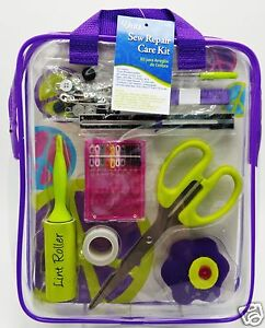 Sewing-Repair-Mend-Kit-Scissor-Needle-Thread-Buttons-Pins-Purple-Case-Dritz-New