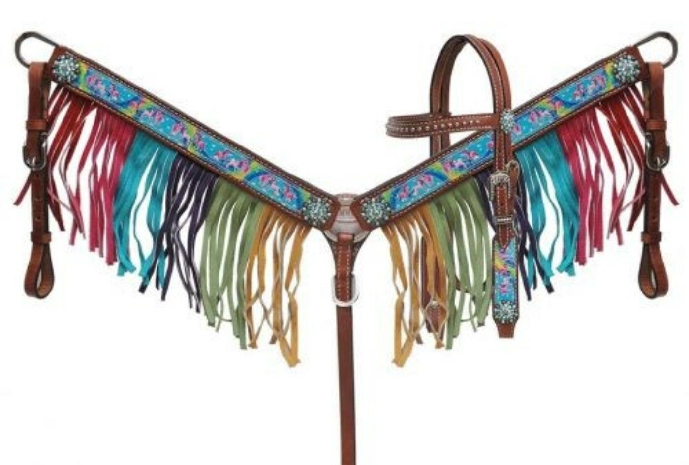 Showman PONY Dimensione Rainbow Pony Print Leather Headstall & Breast Collar Set