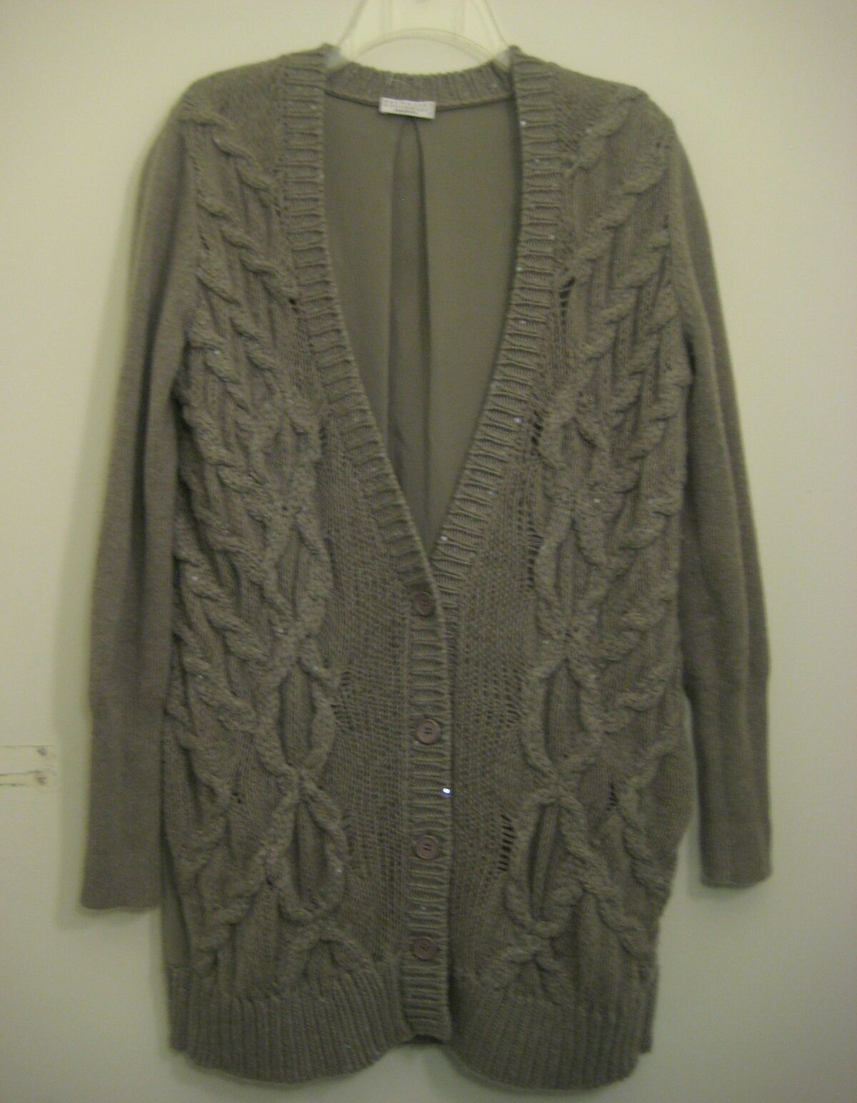 100% Auth. BRUNELLO CUCINELLI Knitted Front Cashmere Long Cardigan Sweater M L