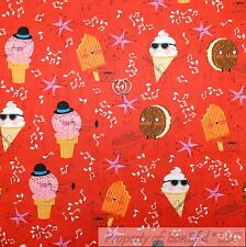 BonEful FABRIC Cotton Quilt Red Pink Ice Cream Cone Retro Music Note Star SCRAP