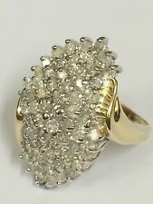 2ct Diamond Cluster Ring - 9ct Yellow Gold - Size O - 6.75g