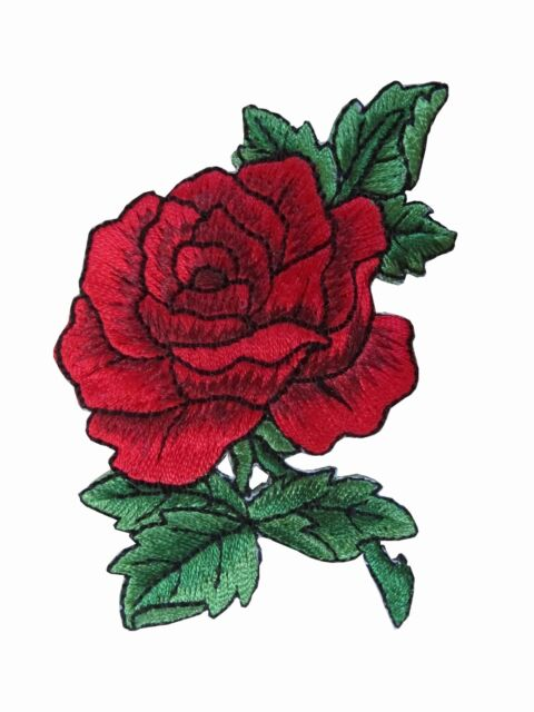 "#3720R 3 1//2/"" Red Rose Flower Embroidery Iron On Applique Patch"