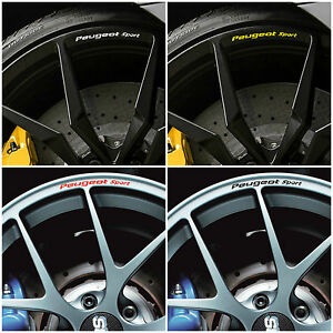 peugeot sport rims alloy wheels decal stickers 106 206 207. Black Bedroom Furniture Sets. Home Design Ideas