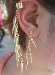 Details About Spiky Ear Cuff Long Punk Chain Earring Gold Plated Spikes Goth Rock Gothic