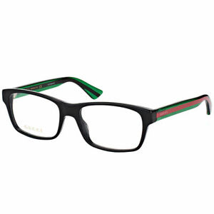 New-Authentic-Gucci-GG0006O-006-Black-Plastic-Rectangle-Eyeglasses-55mm
