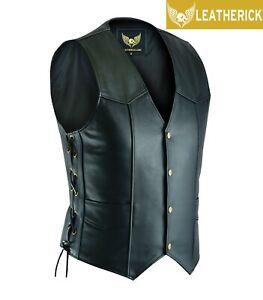 Mens-Classic-Side-Lace-Black-Motorcycle-Biker-Leather-Waistcoat-Vest