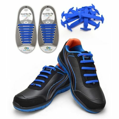 Navy Deep Blue No tie slip on shoe laces anchor pull lock silicon 1 size fit all