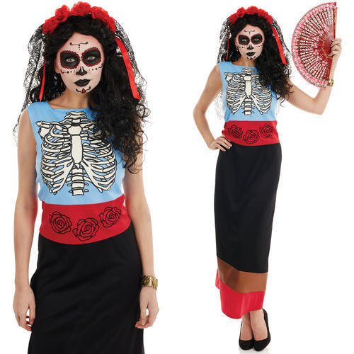 Ladies Mexican Day Of The Dead Womens Halloween Fancy Dress Costume Outfit S