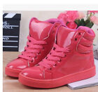 Womens Candy Colors Girls Fashion High Top Lace Up Flats Sneakers Trainers Shoes