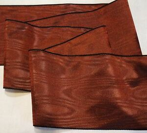 2-034-RAYON-MOIRE-039-RIBBON-MADE-IN-GERMANY-COPPER-BROWN