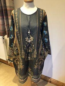 Khaadi-Size-14-Kurta-Worn-twice-Embroidered-Sleeves-Dark-Grey