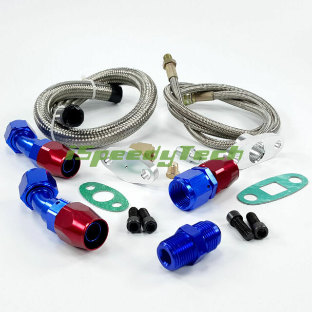 T3 T4 T3/T4 T70 T66 TO4E Turbo Oil Feed+Return Drain Line Kit AN10 fitting  pipe