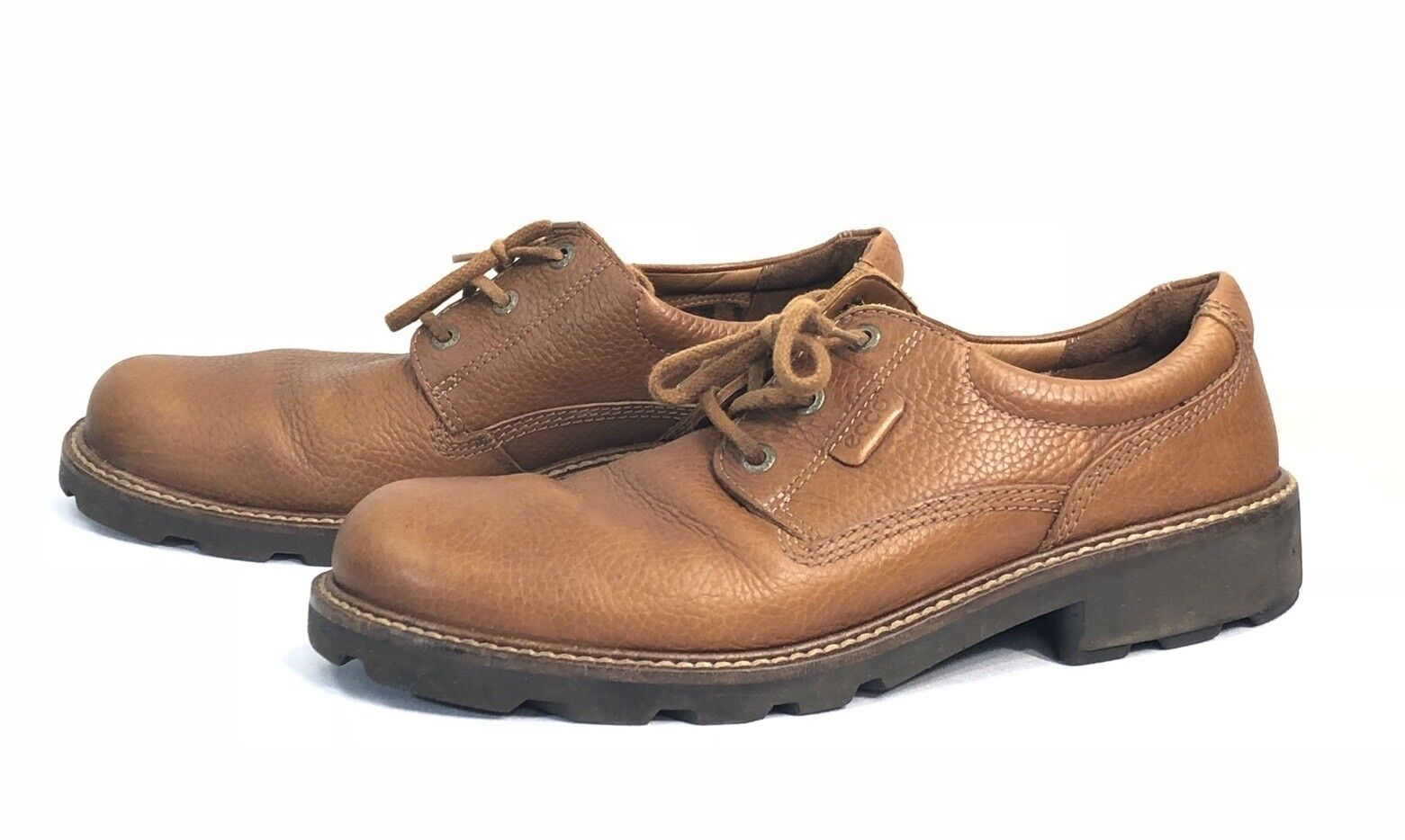 Ecco Tan Brown Pebbled Leather Lace Up Men Oxfords shoes Size US 12-12.5
