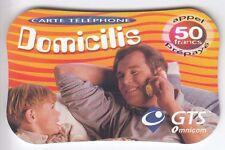 FRANCE TELECARTE / PHONECARD PREPAYEE .. 50F GTS DOMICILIS 3D 10/2001 +N°