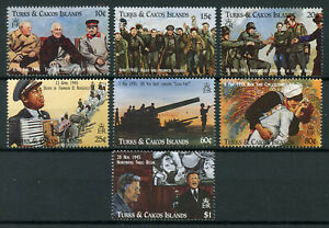 Turks-amp-Caicos-1995-neuf-sans-charniere-WWII-WW2-VE-Day-SECONDE-GUERRE-MONDIALE-Churchill-7-V-SET