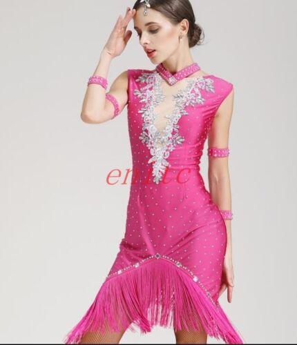 Rhinestone Decor Latin Performance Dance Dress Skirts Cha cha Skirt Mesh Tassel