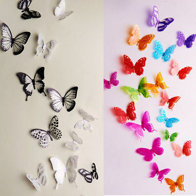 18 pcs 3D Butterfly Decor Decals New Fridge Hot Sale Wall Stickers Crystal b